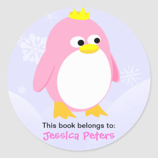 Pink Penguin Personalised Labels Round Sticker