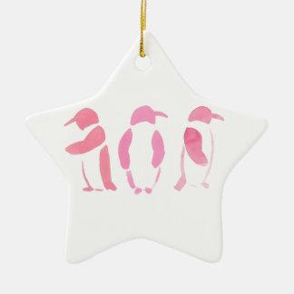 Pink Penguin Trio Ceramic Ornament