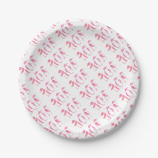 Pink Penguin Trio Paper Plate