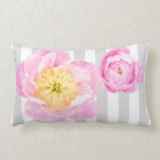 Pink Peonies and Gray Stripes Monogram Lumbar Cushion