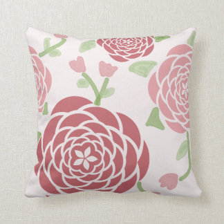 Pink Peonies and Watercolor Floral Cushion