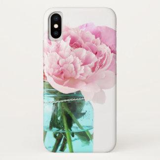 Pink Peonies Blue Mason Jar iPhone X Case