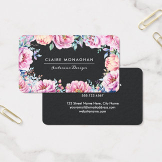 Pink Peonies | Dark Business Card