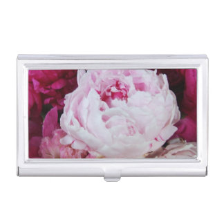 Pink Peonies Floral Case For Business Cards