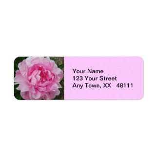Pink Peonies Floral Return Address Label
