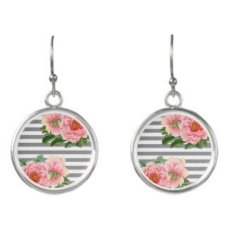 Pink peonies grey lines earrings