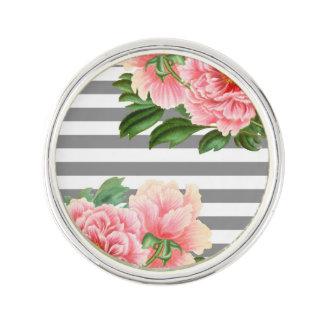 Pink peonies grey lines lapel pin
