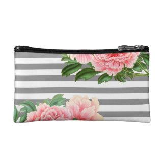 Pink peonies grey lines makeup bag