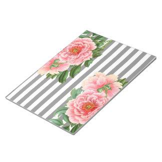 Pink peonies grey lines notepad