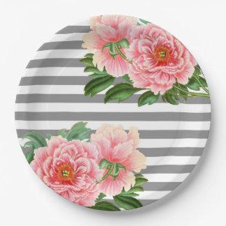 Pink peonies grey lines paper plate