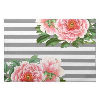 Pink peonies grey lines placemat