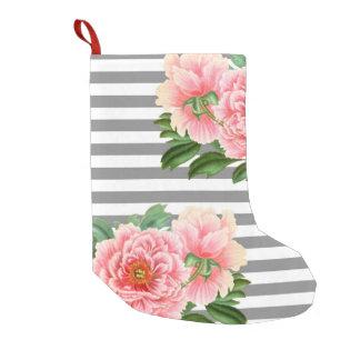 Pink peonies grey lines small christmas stocking