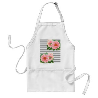Pink peonies grey lines standard apron