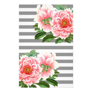 Pink peonies grey lines stationery