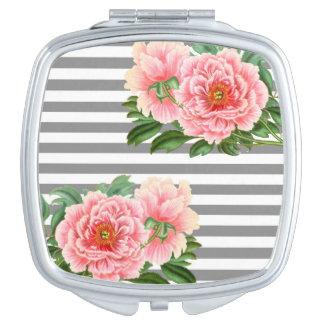 Pink peonies grey lines vanity mirrors
