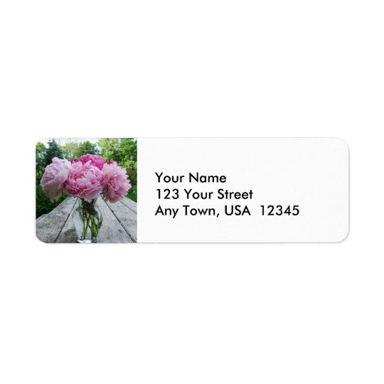Pink Peonies in Vase Return Address Label