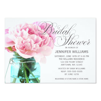 Pink Peonies Mason Jar Bridal Shower Card