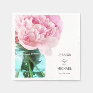 Pink Peonies Mason Jar Personalized Wedding Disposable Napkin