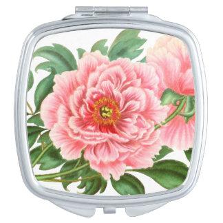 Pink Peonies Mirror For Makeup
