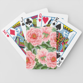 Pink Peonies On Grey Bicycle Playing Cards
