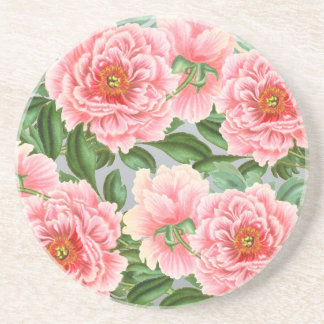 Pink Peonies On Grey Coaster