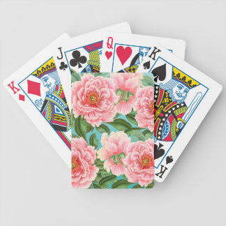 Pink Peonies On teal Bicycle Playing Cards