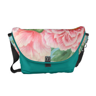 Pink Peonies On Teal Commuter Bags