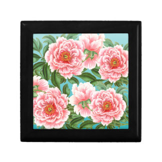 Pink Peonies On teal Gift Box