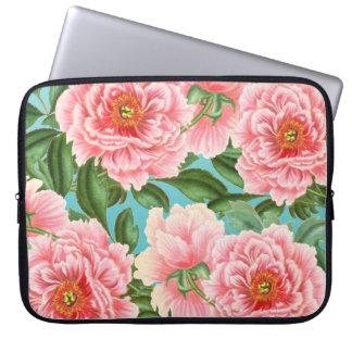 Pink Peonies On Teal Laptop Sleeve