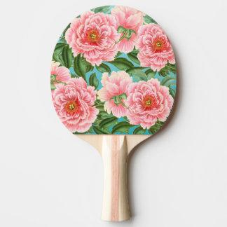 Pink Peonies On Teal Ping Pong Paddle