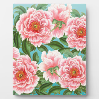 Pink Peonies On teal Plaque