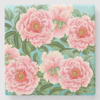 Pink Peonies On Teal Stone Coaster