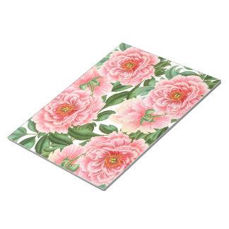 Pink Peonies on White Notepad
