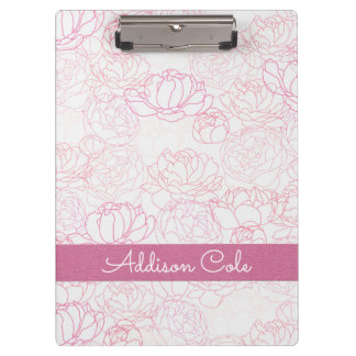Pink Peonies Pattern #2 with Pink Faux Leather Clipboard