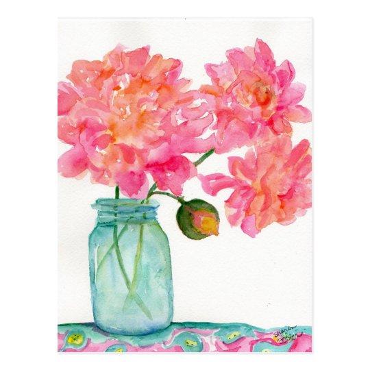 Pink Peonies Postcard