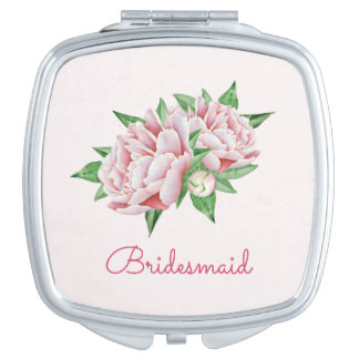Pink Peonies Pretty Watercolor Travel Mirror
