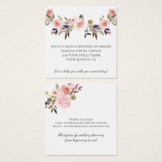 Pink Peonies Purple Green Leaves Business Cards