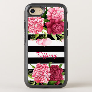 Pink Peonies Striped OtterBox Symmetry iPhone 7 Case