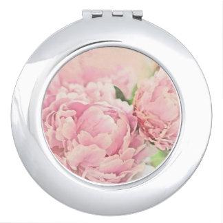 Pink Peonies Travel Mirror