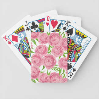 Pink peonies watercolor bicycle playing cards