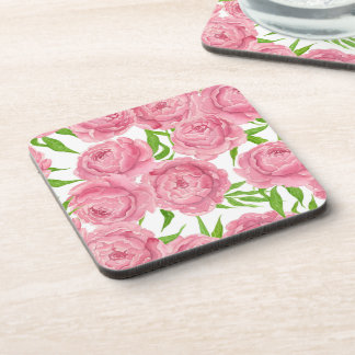 Pink peonies watercolor coaster
