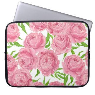 Pink peonies watercolor laptop sleeve