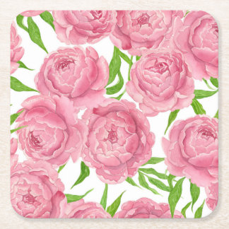 Pink peonies watercolor square paper coaster