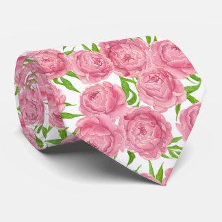 Pink peonies watercolor tie