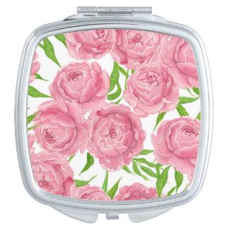 Pink peonies watercolor vanity mirrors