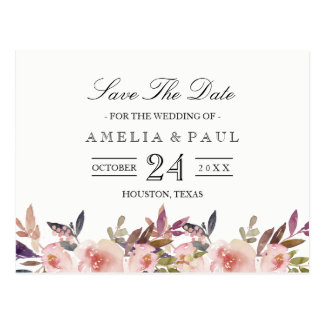 Pink Peonies Wedding Save the Date Postcard
