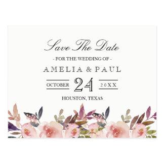 Pink Peonies Wedding Save the Date Postcard