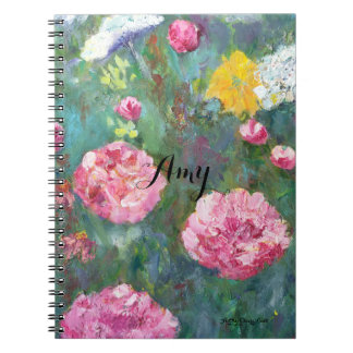 Pink Peonies White Lace Flowers Spiral Notebook