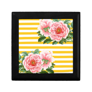 Pink Peonies Yellow Stripes Gift Box