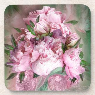 Pink Peony Art Coaster